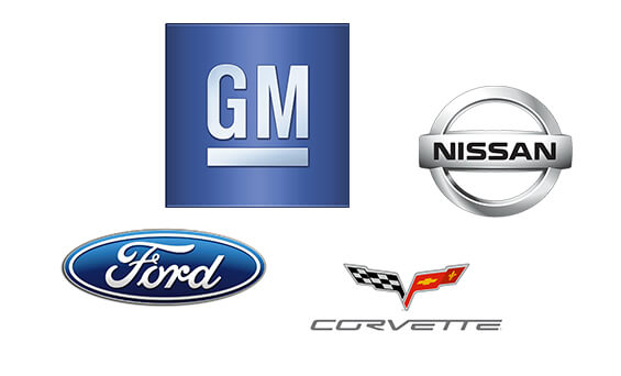 montage of gm, ford, nissan and covette logos